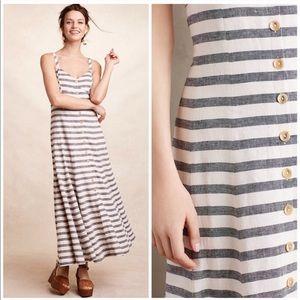 NWOT Anthropologie Maeve Striped Linen Maxi Dress